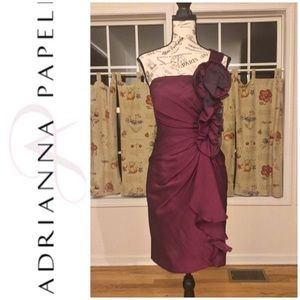 Adrianna Papell Evening Burgundy Cocktail Dress